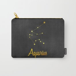 Aquarius Constellation Gold Carry-All Pouch