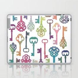 Rainbow Keys on White Laptop & iPad Skin