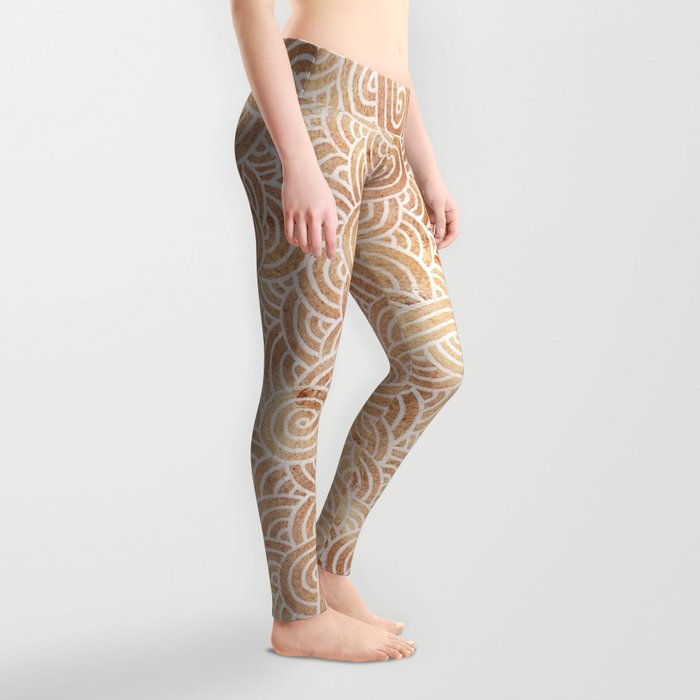 Iced coffee and white swirls doodles Leggings