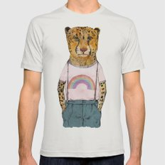 Little Cheetah Mens Fitted Tee LARGE Silver