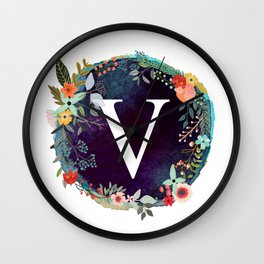 Personalized Monogram Initial Letter V Floral Wreath Artwork Wall Clock