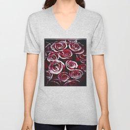 Floral Embosses: Roses 02-01 Unisex V-Neck