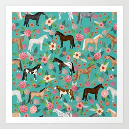 Horses floral horse breeds farm animal pets Art Print