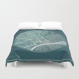 Detroit Map Planet Duvet Cover