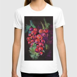 Juicy Redcurrant on Black Background T-shirt