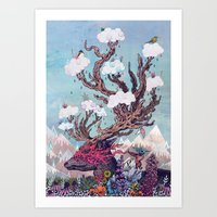 deer Art Prints featuring Journeying Spirit (deer) by Mat Miller
