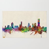 melbourne Area & Throw Rugs featuring Melbourne Australia Skyline by artPause