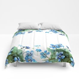 Watercolor forget me nots Comforters