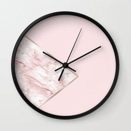 Blush pink geo - pink marble Wall Clock