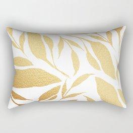 Leafy Vibes (Gold&White) Rectangular Pillow