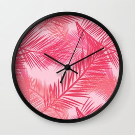 Palm Leaf Print, Coral, Peach and Pastel Pink Wall Clock