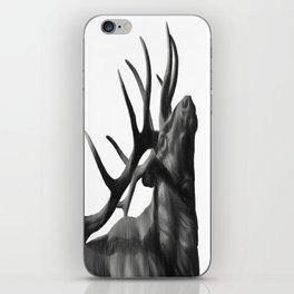 Elk in Black in White iPhone Skin