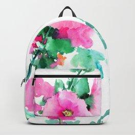Hollyhock, Green pink design floral, Pink Flowers vintage floral design Backpack