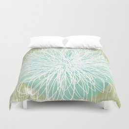 Doodle Flowers in Mint by Friztin Duvet Cover