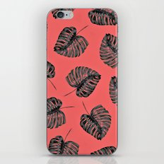 tropical leaves in the red jungle iPhone & iPod Skin