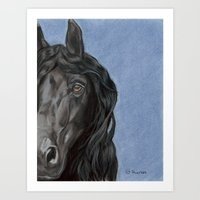 Black Beauty, Friesian Horse - Pastel Portrait Art Print