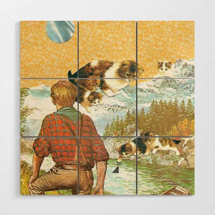 Don't Go Into the Water handcut collage Wood Wall Art