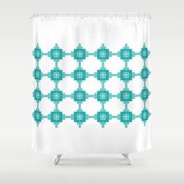 Blue Fretwork Shower Curtain