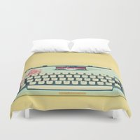 typewriter Duvet Covers featuring The Typewriter by Cassia Beck
