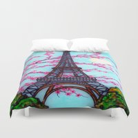 eiffel Duvet Covers featuring Eiffel Tower by ArtLovePassion