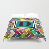 monogram Duvet Covers featuring D Monogram by mailboxdisco