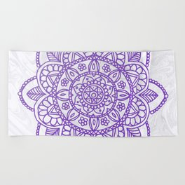 Purple Mandala on White Marble Beach Towel