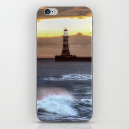 Roker pier and lighthouse sunrise iPhone Skin