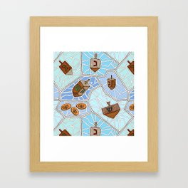 Hanukkah Dreidel and Gelt Mosaic in Light Blues Framed Art Print