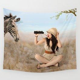 """""""Safari"""" - The Playful Pinup - Khaki Safari Pin-up Girl by Maxwell H. Johnson Wall Tapestry"""