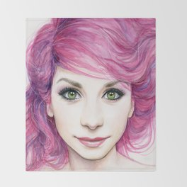 Pink Hair Green Eyes Beautiful Girl Throw Blanket