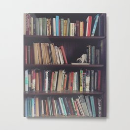 The Bookshelf in the Library, portrait, filtered Metal Print