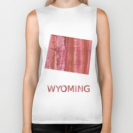 Wyoming map outline Indian red stained wash drawing Biker Tank