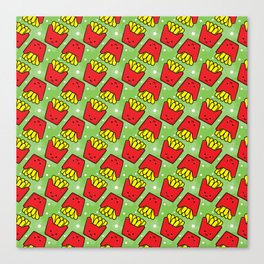 French Fries Fast Food Pattern Canvas Print