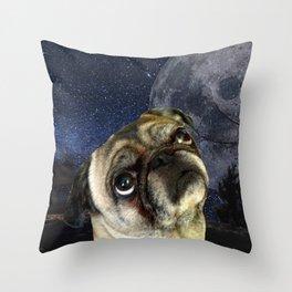 Pug and Moon Throw Pillow