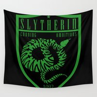 slytherin Wall Tapestries featuring Slytherin Crest by machmigo