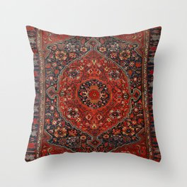 Persian Joshan Old Century Authentic Colorful Red Rusty Blue Vintage Rug Pattern Throw Pillow