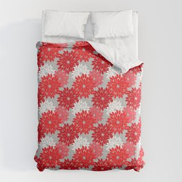 Modern Floral Kimono Print, Coral Red and Gray Comforters