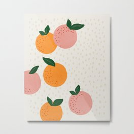 Oranges, Abstract, Mid century modern art Metal Print