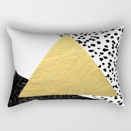 Rexa - gold abstract minimal tribal glitter triangle geometric art cell phone case brooklyn austin  Rectangular Pillow
