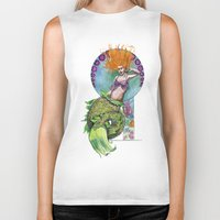 pinup Biker Tanks featuring Mermaid Pinup by Theresa Lammon