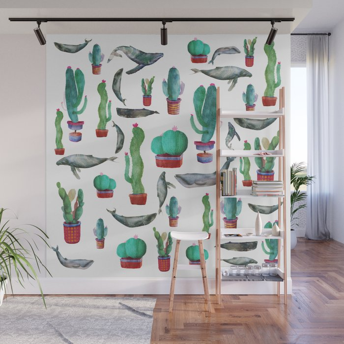 Cactus and Whales Wall Mural