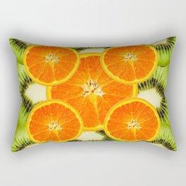 GREEN KIWI & JUICY ORANGE SLICES MODERN ART Rectangular Pillow