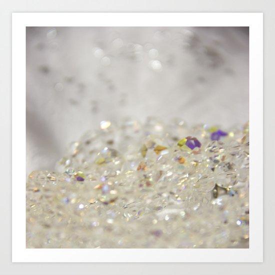 White Crystals Bokeh Art Print