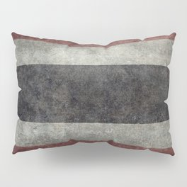 The National flag of Thailand, (formerly known as Siam) Vintage Desaturated version. Pillow Sham