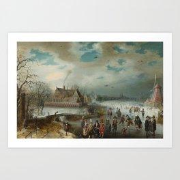 Skating on the Frozen Amstel River by Adam van Breen, 1611 Art Print