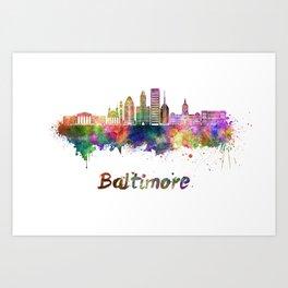 Baltimore skyline in watercolor Art Print