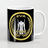 evangelion Mugs featuring Evangelion Pilot Logo by Artist Meli