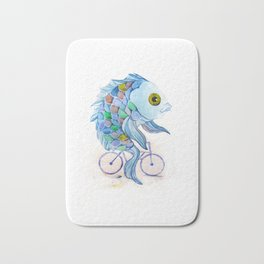 fish on a bicycle Bath Mat