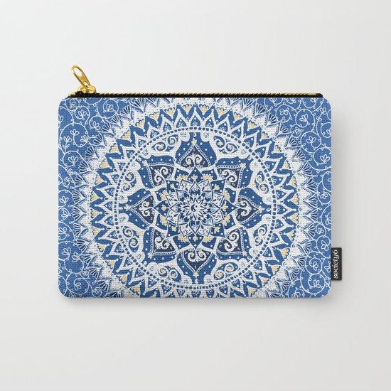 Yin Yang Mandala Pattern (Blue & Yellow) Carry-All Pouch
