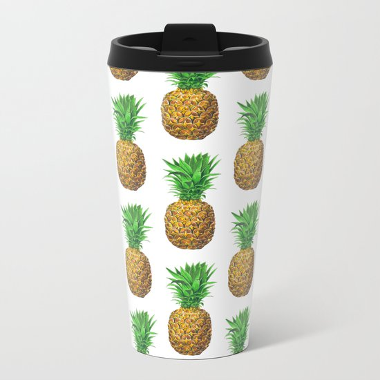 Pineapples, tropical fruit pattern design Metal Travel Mug